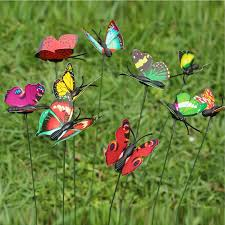 10pcs colourful garden butterflies on sticks flying