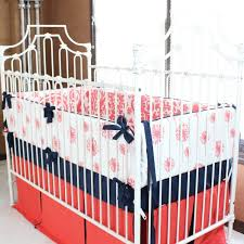 nursery beddings coral and navy nautical crib bedding in
