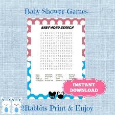 gender reveal mickey and minnie baby shower word search game