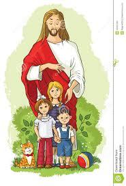 jesus with children stock vector image 49327384