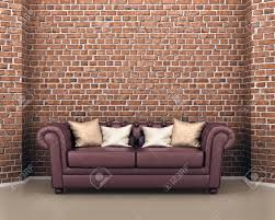 The Brick Leather Sofa Leather Sofa On A Background Of A Brick 3d Illustration Stock
