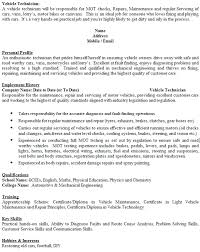 Interest And Hobbies For Resume Examples by Vehicle Technician Cv Example Icover Org Uk