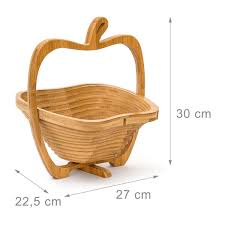 bamboo collapsible apples shape basket kitchen fruits vegetable