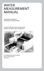 water measurement manual a water resources technical publication