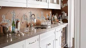 wallpaper backsplash kitchen how to use wallpaper as a kitchen backsplash purewow