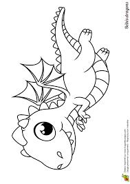Coloriage dun bébé dragon qui senvole dans le ciel audessus des