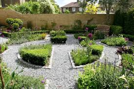 backyard garden with formal flower bed creating a formal flower