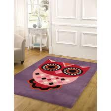 willow purple owl kids rug