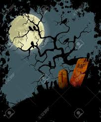 halloween background with tree crows and cemetery royalty free