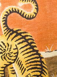 gucci tiger print linen jersey t shirt in orange for men lyst