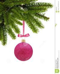 red glitter christmas decor ball on ribbon on green tree branch