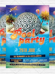 summer pool party u2013 premium flyer template instagram size flyer