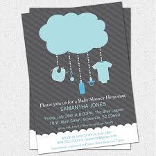 printable rain cloud baby boy shower invitation light blue
