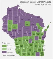 Wisconsin Topographic Map by July 2012 Wisconsin Lidar Inventory Map Wisconsin Geospatial News