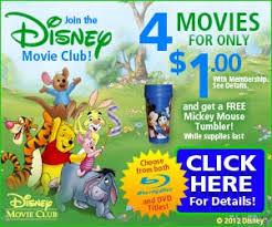 disney club 4 disney dvds for 1 shipped plus a free pluto