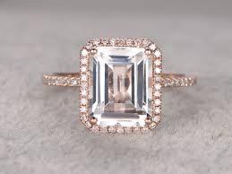 white topaz engagement ring 10x8mm emerald cut white topaz engagement ring diamond wedding