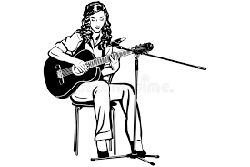 vector sketch of a playing the guitar in front of a microph