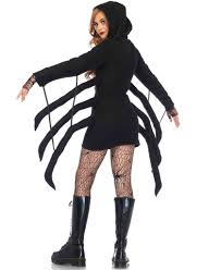 cozy black widow spider costume black and red dress nevermore