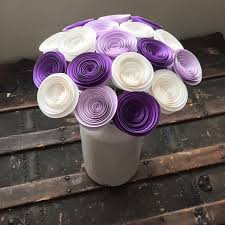 purple and white wedding paper flowers stemmed purple roses lilac white wedding
