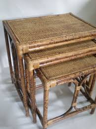 vintage rattan nesting tables bamboo nesting table english style tortoise finish for the home