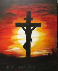 jesus on the cross painting atrylic on the wall handmade