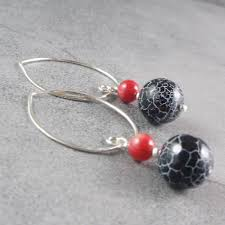 semi precious drop earrings black agate earrings set with coral a