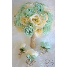 Mint Green Corsage Mint Ivory Rustic Burlap Lace Featured