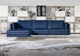 Navy Blue Sofa Set Contemporary Blue Fabric Sectional Sofa With White Piping Boston