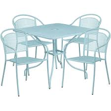 Steel Patio Table Square Sky Blue Indoor Outdoor Steel Patio Table Set With 4