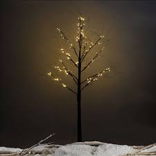 christmas xmas brown birch snow tree w led lights seasonal