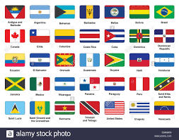 Flags Countries Set Of American Countries Flag Icons With Rounded Corners Stock