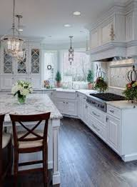 Lovely White Classic Kitchen With Unique Corner Apron Sink Layout - Corner sink for kitchen