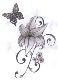 butterfly around lily tattoo design tattoos book