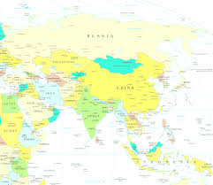Countries Map Asia Map With Countries Of Continent Clickable To Asian And East