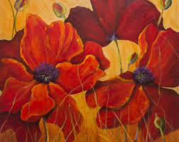 Vase With Red Poppies Poppy Painting Etsy