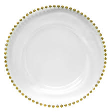 the companies 13 gold beaded glass charger plate