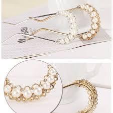 gold hair accessories white rhinestone bead pearl gold hair pin stick