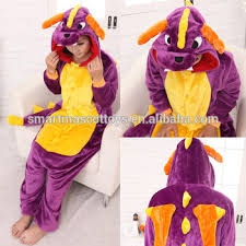 Spyro Halloween Costume Thick Flannel Purple Dragon Spyro Dragon Onesie Animal