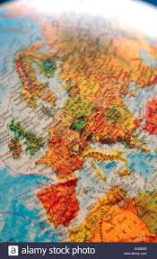 Europe Middle East Map by Map Maps Globe Globes Europe North Africa Middle East Stock Photo