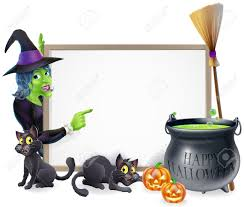 cartoon halloween vector background halloween sign background with cartoon witch and happy halloween