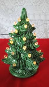 vintage miniature lighted two green tree white