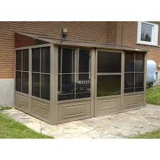 Wooden Screen Gazebos by Shop Gazebo Penguin Add A Room Brown Aluminum Rectangle Screened
