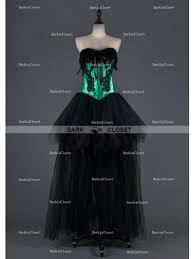 black and green feather gothic burlesque corset high low prom