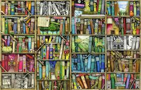childrens wallpaper wall murals wallsauce usa bookshelf wallpaper mural