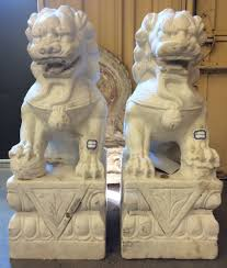 lions statues 2ft antique white marble foo dog guardian lion statues from