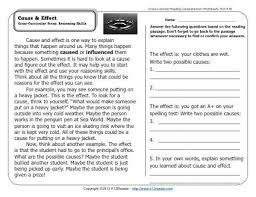 4th grade cause and effect worksheets worksheets