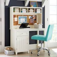 White Desk And Chair Beadboard Space Saving Desk Hutch Pbteen