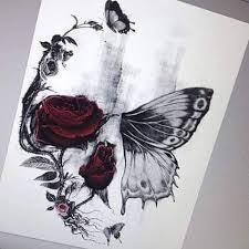 image result for half butterfly half skull tattoos