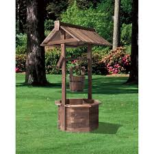 stonegate designs wooden wishing well planter burnt finish