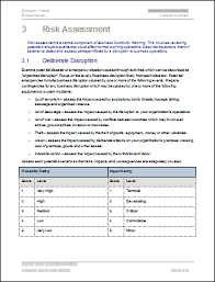 business continuity plan risk assessment template business